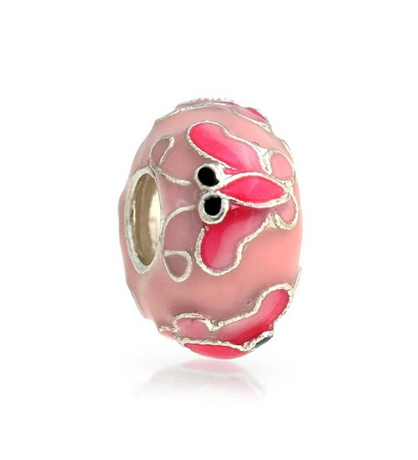 Bling Jewelry Pink Butterfly Enamel Bead Charm .925 Sterling Silver - C511547VDJX