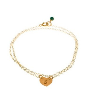 Initial Bracelet - Custom Gold Filled Dainty Heart- Small Monogram Delicate Simple Bracelet - CC11EJJQ53V