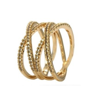 Double X Rings Cross Criss Trendy Fashion Statement Clear CZ Cocktails Gold Plated Size 6 - 9 - Gold - C51882T86N5