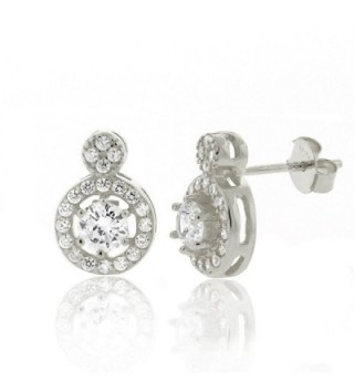 .925 Sterling Silver Womens Floating Halo Cubic Zirconia Stud Earrings - C012978TX9B