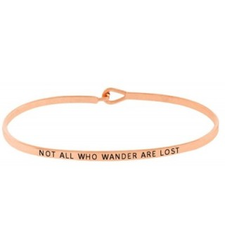 "Inspirational ""NOT ALL WHO WANDER ARE LOST"" Positive Mantra Message Thin Bangle Hook Bracelet - Rose Gold - CV1839MGRH4"
