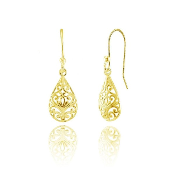 Sterling Silver Pear-Shape Filigree Polished Dangle Earrings - CI18592Y58A