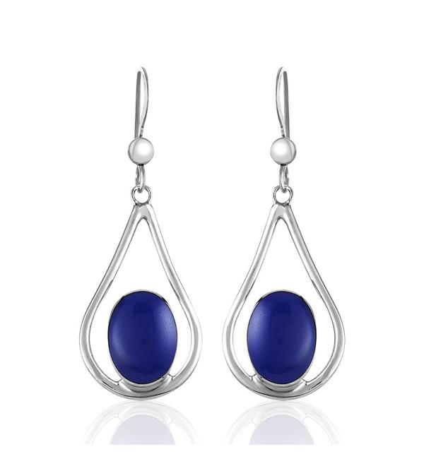 925 Sterling Silver Teardrop Blue or Blue-green Stone Dangle Earrings - Deep Blue - CF12EBNVSP9