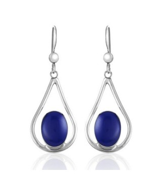 925 Sterling Silver Teardrop Blue or Blue-green Stone Dangle Earrings - Deep Blue - CF12EBNVSP9