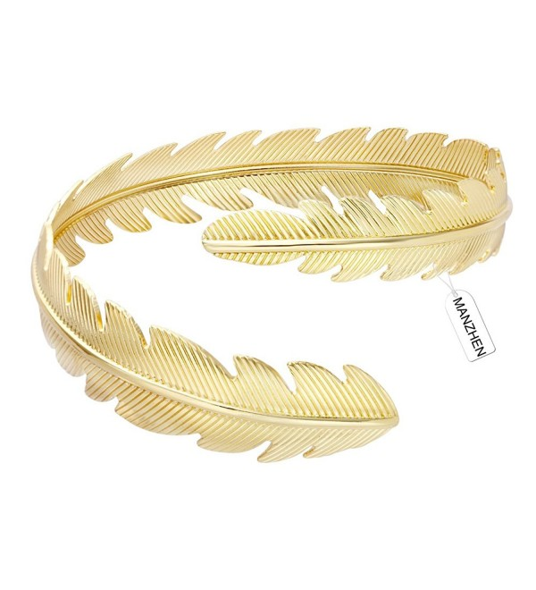 MANZHEN Gold Tone Swirl Leaf Feather Upper Arm Bracelet Armlet Cuff Bangle Armband Adjustable - Gold - CG12MYBL8DP
