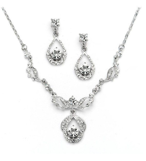 Mariell Vintage Crystal Necklace and Earrings Set - Retro Glamour for Bridal- Bridesmaids & Formal Wear - C212J5BE5PH