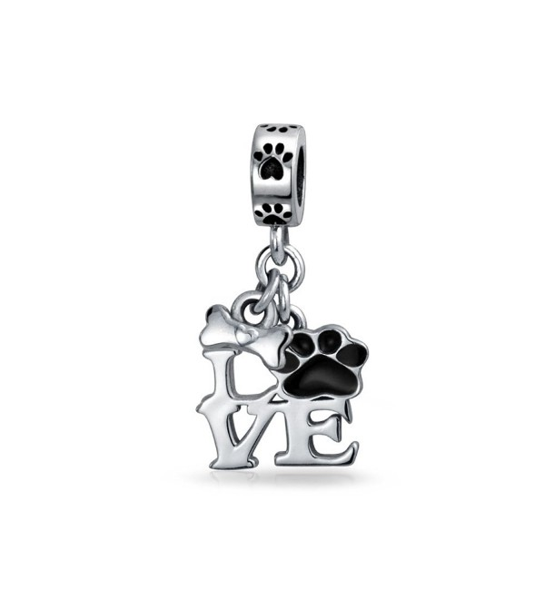 Bling Jewelry Love Dog Puppy Paw Print Enamel Dangle Bead Charm Silver - CP11T7ZKDRV