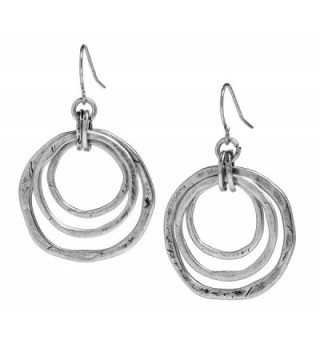 Handmade Moonlight Goddess Earrings- OF EARTH AND OCEAN - Triple Circles in Silver Tone - CJ12268G18Z