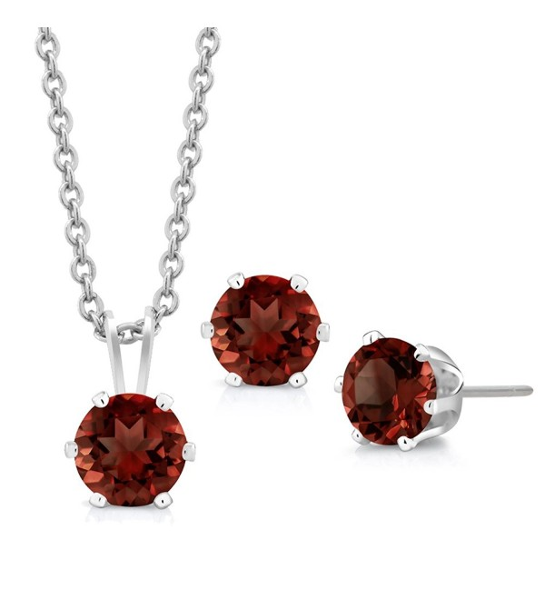 "3.00 Ct Round 6mm Red Garnet 925 Sterling Silver Stud Earrings Pendant Set 18"" - C8116FZVFGT"