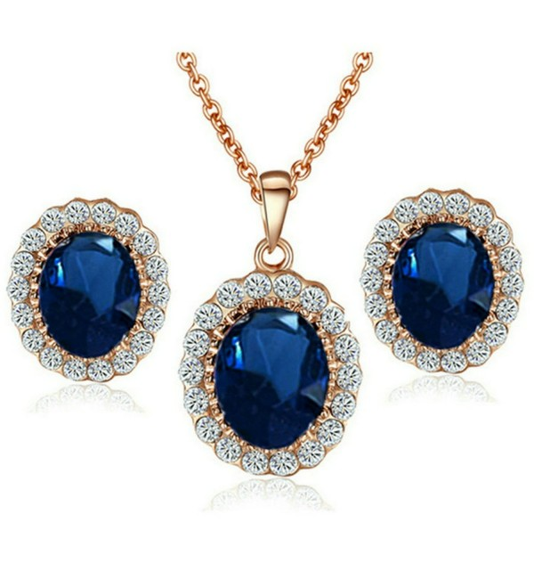 Yoursfs Kate Middleton Style Navy Blue Crystal Stud Earrings Necklace Set For Women Fashion Jewelry - CX11NHHMJBD