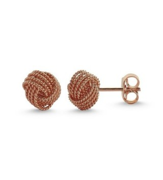 925 Solid Sterling Silver High Polished Braided 8mm KNOT Stud Earrings Rose Gold - C81883XLIQ0