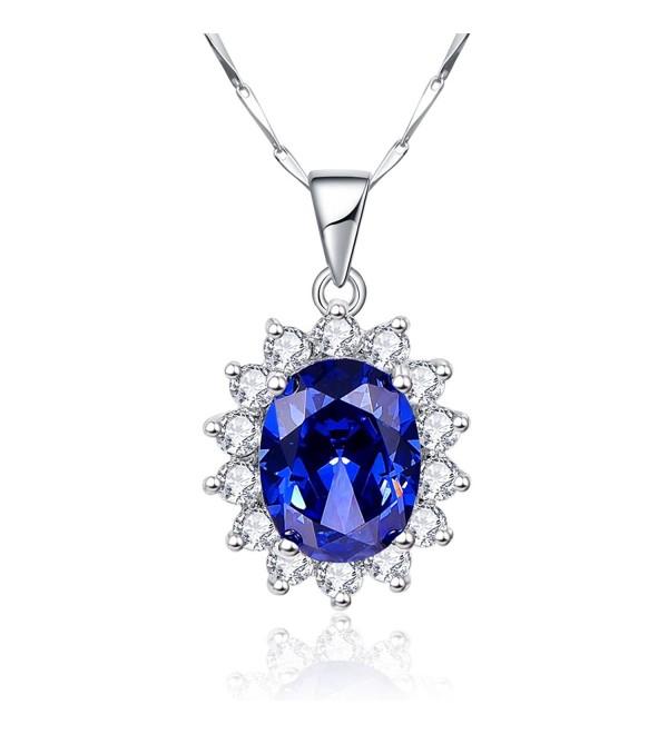 "BONLAVIE Princess Diana 8.15ct Created Blue Tanzanite 925 Sterling Silver Pendant Solitaire Necklace 18"" - C712N3584A3"