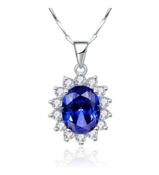 "BONLAVIE Princess Diana 8.15ct Created Blue Tanzanite 925 Sterling Silver Pendant Solitaire Necklace 18"" - C712N3584A3"