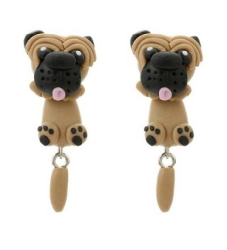 Women Earrings- FTXJ 1Pair Novelty Handmade Polymer Clay Jewelry Cute Cartoon Animal Stud Earrings - Pug Dog - CX189N3YZWR