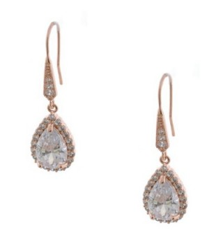 Topwholesalejewel Rose Gold Plating Cubic Zirconia Tear Drop Earring - CO183XY7ZTE