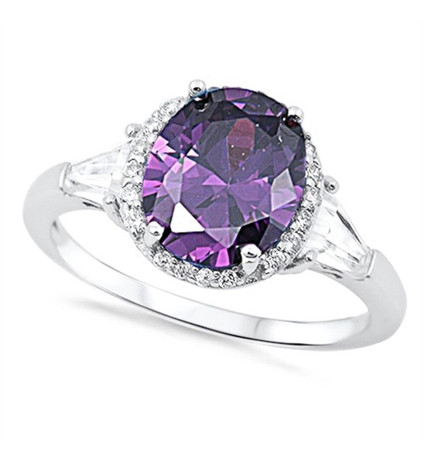 2Ct Oval Purple Cz & Baguette Cz .925 Sterling Silver Cocktail Ring Sizes 5-10 - C011J0P0Z3F