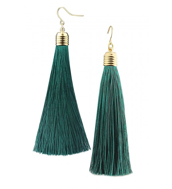 Mina Gold Long Tassel Draping Extra Long Shoulder Duster Earring - Green - C6186GHTEZ3