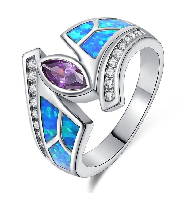 Women Rings Blue Fire Opal Purple Cubic Zirconia Rhodium Plated Flower Leaf Bypass Jewelry Size 5-10 - CR184EY9U2Q