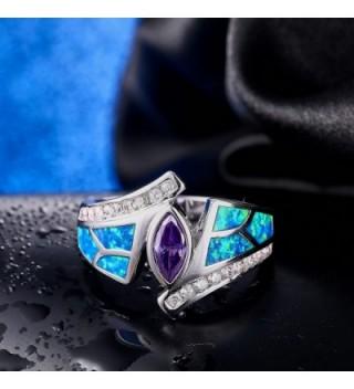 Purple Zirconia Rhodium Plated Flower Jewelry in Women's Statement Rings