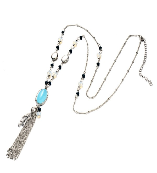 Onnea Cocktail Multi Colors Stone Tassel Necklace - C112MDF1D9X