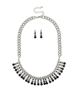 Lux Accessories Pave Crystal Multi Color Black Stone Statement Bib Necklace Matching Earrings - C9127ZWV515