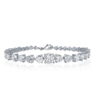 NYC Sterling Women Cubic Zirconia Graduated Tennis Bracelet - CS1827IHGQQ