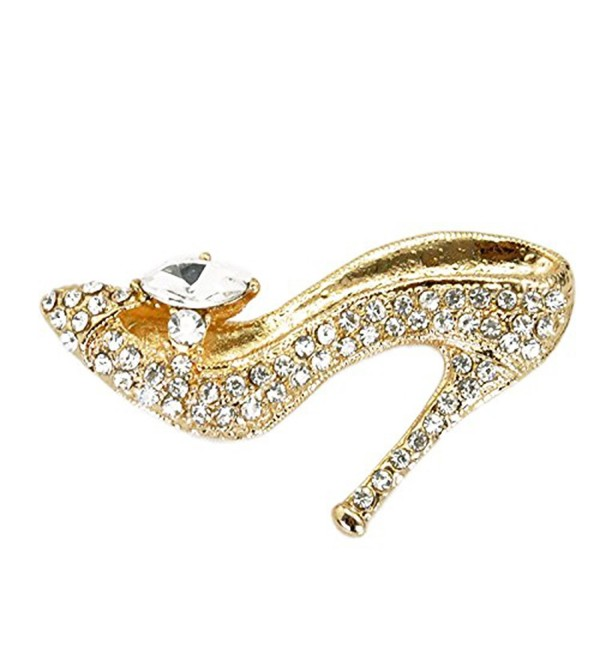 Gold Plated Full Inlay Crystal High Heels Shoes Brooch and Pin -Gift Packaging Included - CN11W74C5T3