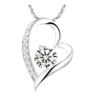 14K White Gold Overlay I Love You Heart Pendant Necklace for Mom- Wife- Girlfriend- Daughter- by Felix - CM12JOQS1ZD