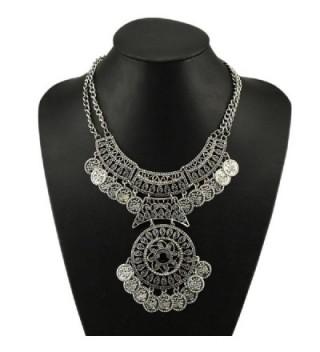 Doinshop Women Bohemian Festival Jewelry Double Chain Coin Statement Necklace Sl - CQ120R1WBD7