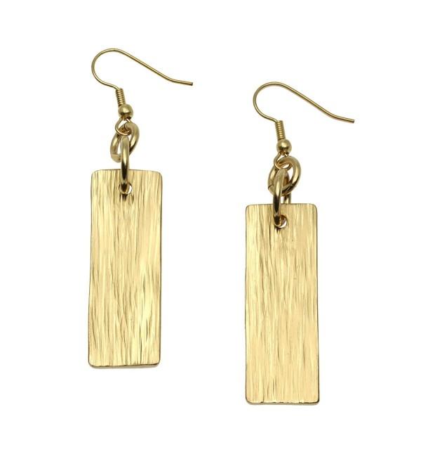 Nu Gold Brass Bark Dangle Earrings by John S Brana Handmade Jewelry Durable Brass Earrings - CY12B3OZ9VN