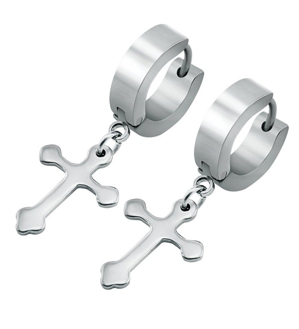Stainless Cartilage Earrings Hinged Huggie - Silver Plated with Cross Dangle 1 - C212NU57056