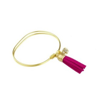 "John Wind- Neutral Tassel Bangle- Gold Plated- 7"" Circumference - Fuschia - CY12HREHD5D"