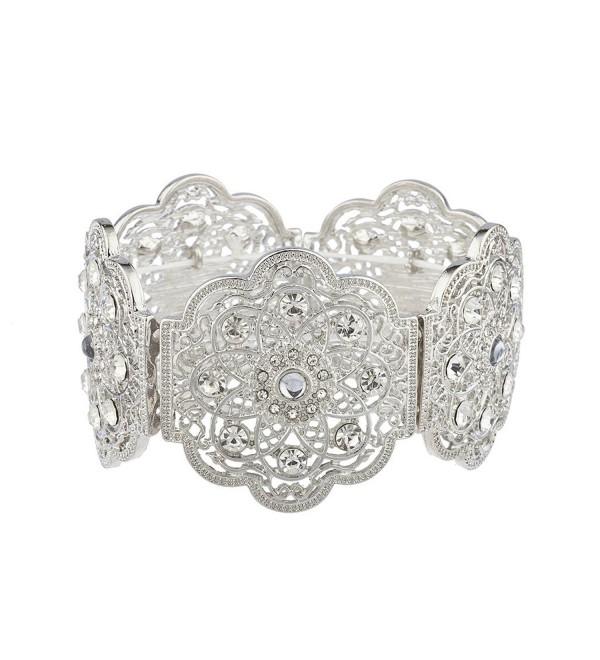 Lux Accessories Silvertone&Acirc Floral&Acirc Filigree Crystal Rhinestone Stretch Bracelet&Acirc - CQ17YHQGR9R