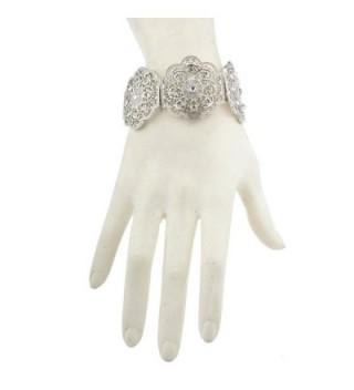 Lux Accessories Silvertone%C3%82 Floral%C3%82 Filigree Rhinestone Bracelet%C3%82