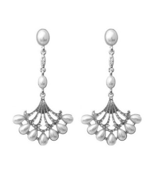 Rosemarie Collections Women's Vintage Style Faux Pearl Chandelier Dangle Earrings - Silver Tone - CV17X6ILE6K