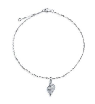 Bling Jewelry 925 Sterling Silver Conch Seashell Nautical Charm Anklet 9in - C511EMIH6B9