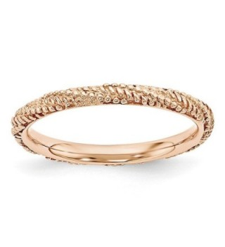 2.25mm Rose Gold Tone Plated Sterling Silver Stackable Textured Band - CG12K7JG1HB