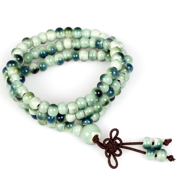 Handmade Porcelain Buddhist Bracelet Necklace - Color Emerald Green - CY186DK7R5U