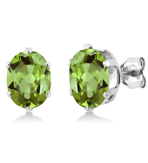 925 Sterling Silver Green Peridot Gemstone Birthstone Women's Stud Earrings (2.60 Cttw- Oval 8X6MM) - CU115V6F30H