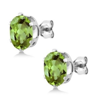 Sterling Peridot Gemstone Birthstone Earrings in Women's Stud Earrings