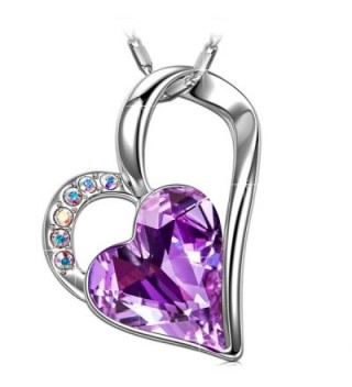 SIVERY 'Eternal Love' Women Heart Necklace with Swarovski Crystal- Jewelry for Women Gifts for Mom - Purple - CI12O6PM9VJ