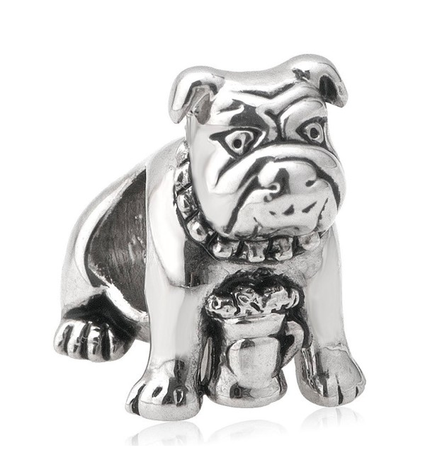 Third Time Charm Cute Bulldog Charm Puppy Dog Beads Fit European Charm Bracelets - C117YQIIADC