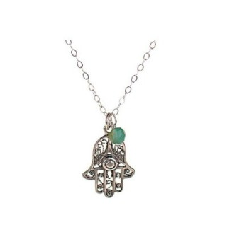Sterling Silver Hamsa Filigree Necklace- Lucky Protection for Evil Eye - CD11D3D3WET