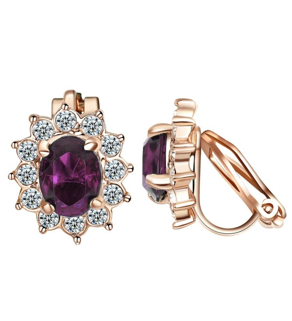 Yoursfs Clip on Earrings For Women Purple Crystal & Small Cubic zirconia Floral Clip Earrings - Purple - CZ18C9DZY7Q
