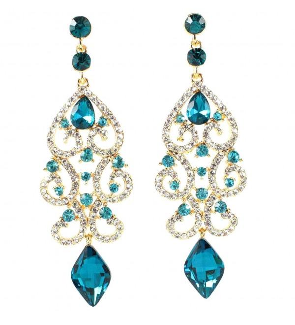Janefashions Sexy Austrian Crystal Rhinestone Chandelier Dangle Earrings Bridal E2084 Blue or White (Blue/Gold) - CM120TNJT7J