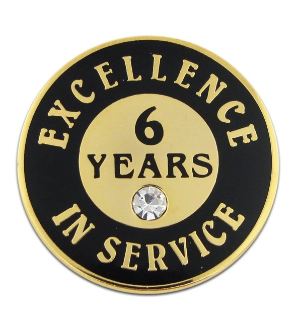PinMart's Gold Plated Excellence in Service Enamel Lapel Pin w/ Rhinestone - 6 Years - CO119PEN425