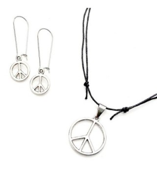 Sabai NYC Classic Peace Sign Earring & Adjustable Necklace Set - C8186N5T3KT