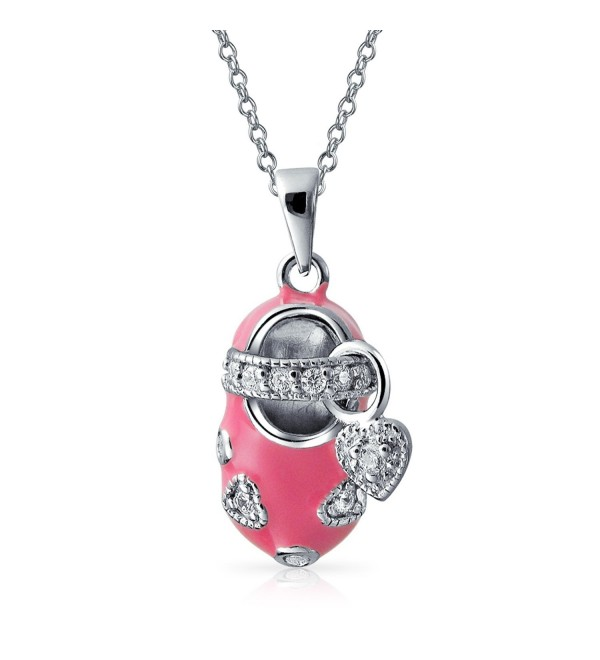 Bling Jewelry Pink Baby Bootie Shoe Pendant Sterling Silver Necklace 18 Inches - C7114JYE7SL