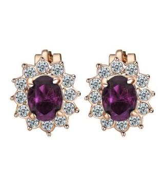 Yoursfs Earrings Purple Crystal zirconia in Women's Clip-Ons Earrings