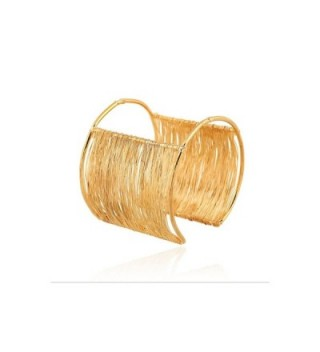 18K Gold Plated Wire Coil Cuff Bracelet - CZ12NGEG1MS